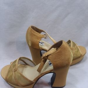 Shoes - Club X gold metallic fabric uppers for in heels